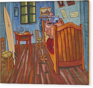 Vincents Bedroom In Arles For Surfers-amadeus Series Wood Print by Dominique Amendola