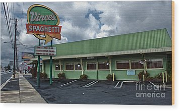 Vinces Speghetti Wood Print by Gregory Dyer