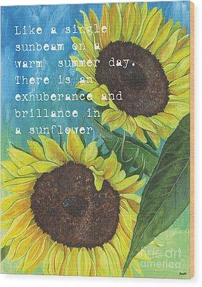 Vince's Sunflowers 1 Wood Print by Debbie DeWitt