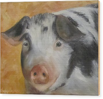 Wood Print featuring the painting Vindicator Pig Painting by Cheri Wollenberg