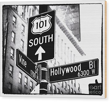 Vine And Hollywood Wood Print by John Rizzuto