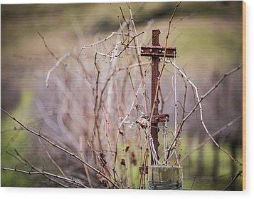 Vinepost Wood Print by Mike Lee