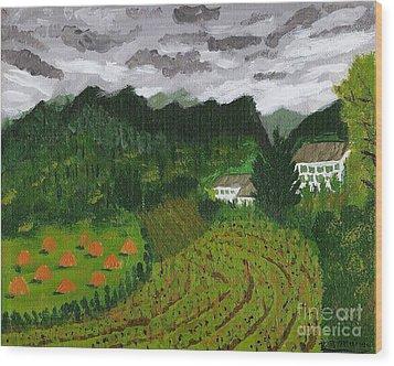 Vineyard And Haystacks Under Stormy Sky Wood Print by Vicki Maheu