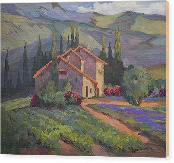 Vineyard And Lavender In Provence Wood Print