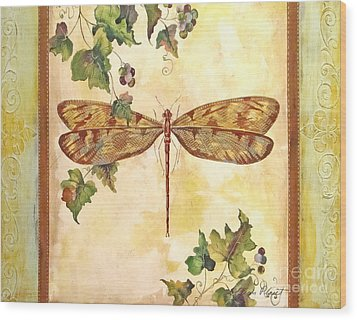 Vineyard Dragonfly Wood Print by Jean Plout