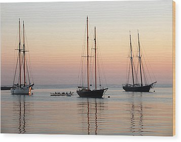 Vineyard Harbor Sunrise Wood Print by Dan Myers