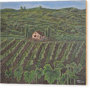 Vineyard In Neuchatel Wood Print