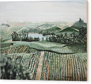 Vineyard On A Foggy Morning Wood Print by Vickie Wright