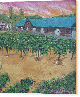 Vineyard Sunset Wood Print by Scott Phillips
