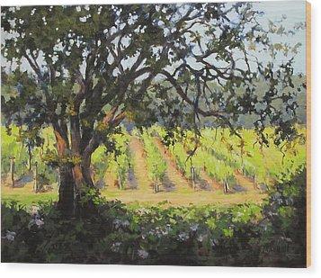 Vineyards Edge Wood Print by Karen Ilari