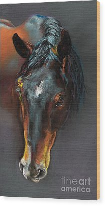 Vinnie Mustang Love Wood Print by Frances Marino