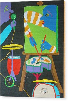 Vinny And The Van Goes Three Wood Print by Pamela Allegretto