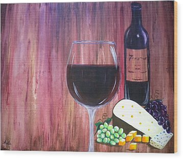 Vino Wood Print by Abigail Avila