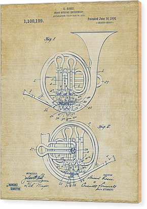 Vintage 1914 French Horn Patent Artwork Wood Print by Nikki Marie Smith