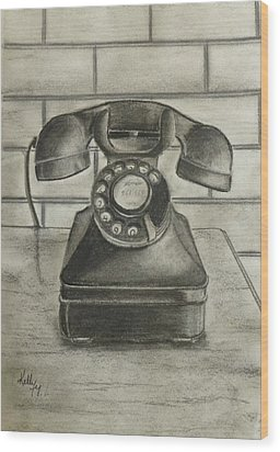 Wood Print featuring the drawing Vintage 1940's Telephone by Kelly Mills