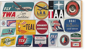 Vintage Airlines Logos Wood Print by Don Struke