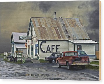 Vintage Alaska Cafe Wood Print by Ron Day