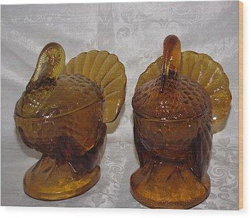 Vintage Amber Glass Turkey Wood Print by HollyWood Creation By linda zanini