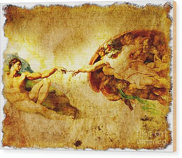 Vintage Art - The Creation Of Adam Wood Print by Stefano Senise