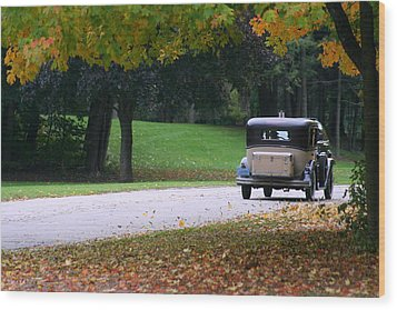 Vintage Auto On The Road Again Wood Print by Kay Novy