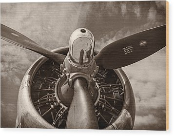 Vintage B-17 Wood Print by Adam Romanowicz