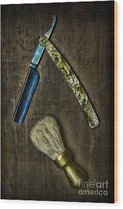 Vintage Barber Tools Wood Print by Paul Ward