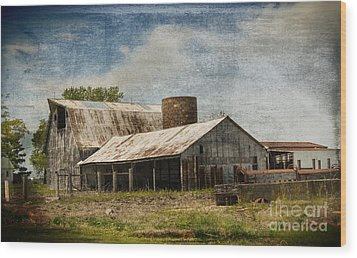 Barn -vintage Barn With Brick Silo - Luther Fine Art Wood Print by Luther Fine Art
