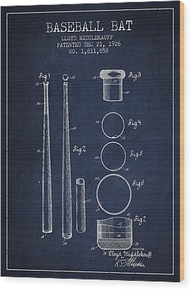 Vintage Baseball Bat Patent From 1926 Wood Print