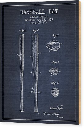 Vintage Baseball Bat Patent From 1939 Wood Print