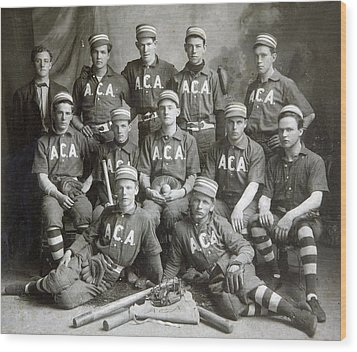 Vintage Baseball Team Wood Print by Russell Shively