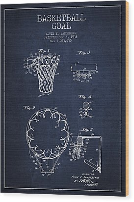Vintage Basketball Goal Patent From 1936 Wood Print by Aged Pixel