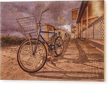 Vintage Beach Bike Wood Print by Debra and Dave Vanderlaan