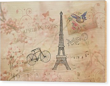 Vintage Bicycle And Eiffel Tower Wood Print by Peggy Collins