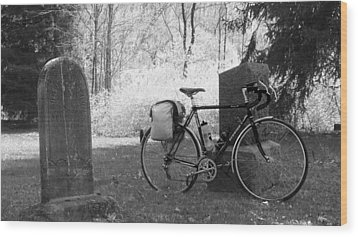 Vintage Bicycle In Graveyard Wood Print by Joyce  Wasser