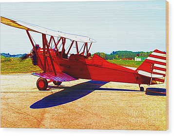Vintage Biplane - 7d15525 - Color Sketch Style Wood Print by Wingsdomain Art and Photography