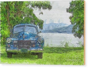 Vintage Blue Caddy At Lake George New York Wood Print by Edward Fielding