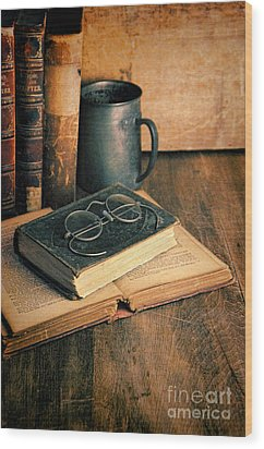 Vintage Books And Eyeglasses Wood Print by Jill Battaglia