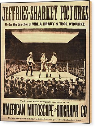 Vintage Boxing Movie Poster Wood Print by Bill Cannon