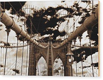 Vintage Brooklyn Bridge Wood Print by John Rizzuto