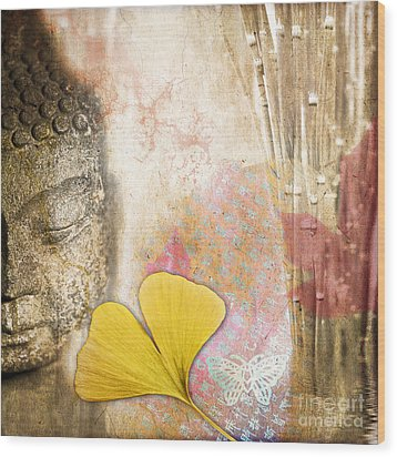 Vintage Buddha And Ginkgo Wood Print by Delphimages Photo Creations