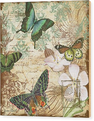 Vintage Butterfly Kisses  Wood Print by Jean Plout