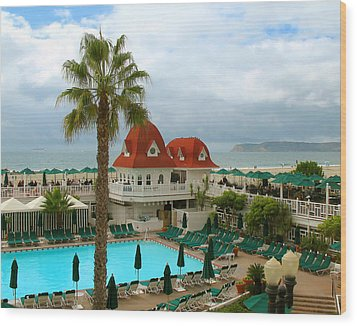 Vintage Cabana At The Del Wood Print by Connie Fox