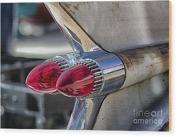 Vintage Cadillac Tail Fins Wood Print by JRP Photography