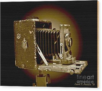 Vintage Camera In Sepia Tones Wood Print