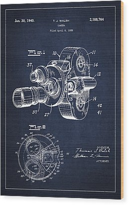 Vintage Camera Patent Drawing From 1938 Wood Print by Aged Pixel