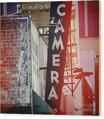 Vintage Camera Sign Wood Print by Nina Prommer