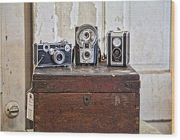 Vintage Cameras At Warehouse 54 Wood Print by Toni Hopper