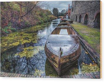 Vintage Canal Boat Wood Print by Adrian Evans