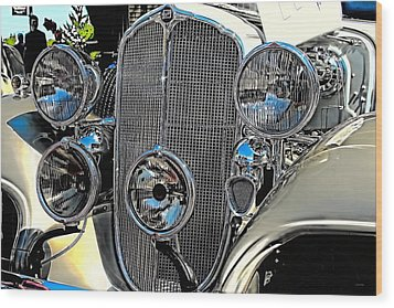 Vintage Car Art Buick Grill And Headlight Hdr Wood Print