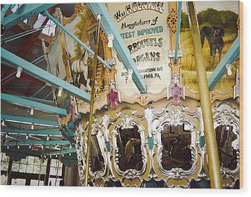 Wood Print featuring the photograph Vintage Carousel by Debra Crank